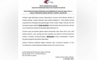 Notification of Harmful Algae Bloom (HAB) in the Waters of Sungai Geting, Tumpat, Kelantan.