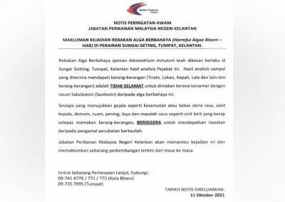 Makluman Kejadian Rebakan Alga Berbahaya (Harmful Algae Bloom – HAB) di Perairan Sungai Geting, Tumpat, Kelantan.
